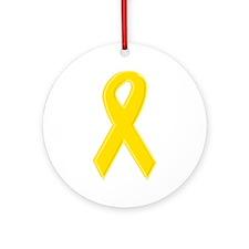 Yellow Awareness Ribbon Ornament (Round)