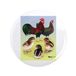 "Danish Leghorn Rooster, Hen & 3.5"" Button"