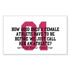 Female Athlete Quote Rectangle Decal