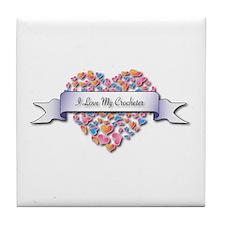 Love My Crocheter Tile Coaster