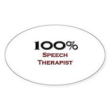 100 Percent Speech Therapist Oval Decal