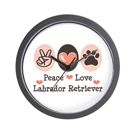 Peace Love Labrador Retriever Wall Clock