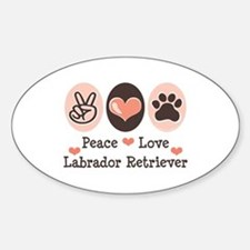 Peace Love Labrador Retriever Oval Decal