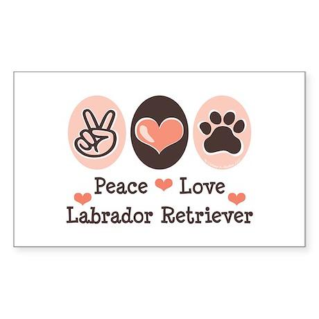 Peace Love Labrador Retriever Sticker (Rectangular
