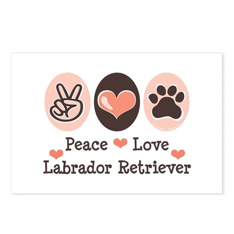 Peace Love Labrador Retriever Postcards (Package o