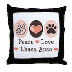 Peace Love Lhasa Apso Throw Pillow