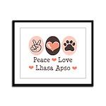 Peace Love Lhasa Apso Framed Panel Print