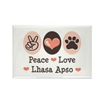 Peace Love Lhasa Apso Rectangle Magnet (10 pack)