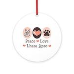Peace Love Lhasa Apso Ornament (Round)