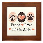 Peace Love Lhasa Apso Framed Tile