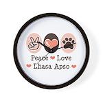 Peace Love Lhasa Apso Wall Clock