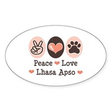 Peace Love Lhasa Apso Oval Decal