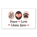 Peace Love Lhasa Apso Rectangle Sticker