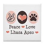 Peace Love Lhasa Apso Tile Coaster