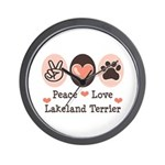 Peace Love Lakeland Terrier Wall Clock