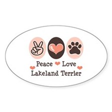 Peace Love Lakeland Terrier Oval Decal