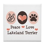 Peace Love Lakeland Terrier Tile Coaster