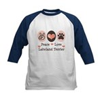 Peace Love Lakeland Terrier Kids Baseball Jersey