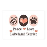 Peace Love Lakeland Terrier Postcards (Package of