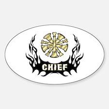 Fire Chief Tattoo Flames Sticker (Oval)