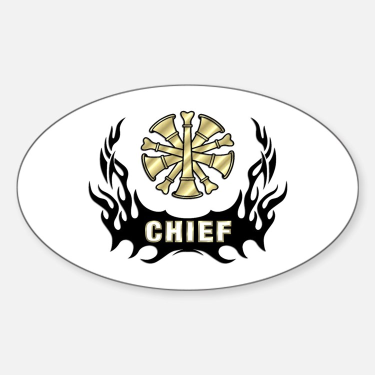 Fire Chief Tattoo Flames Sticker (Oval)