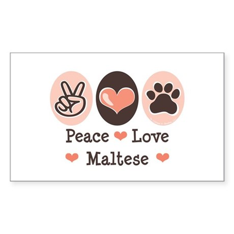 Peace Love Maltese Rectangle Sticker