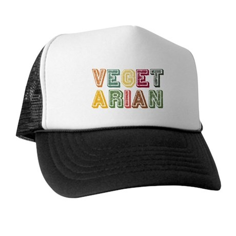 Vegetarian Colorful Distressed Lettering Trucker H