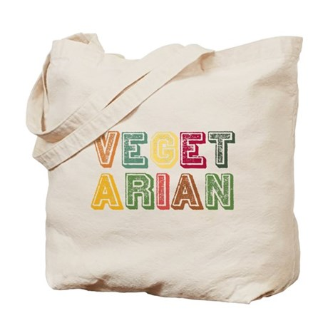 Vegetarian Colorful Distressed Lettering Tote Bag