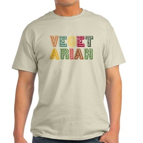 Vegetarian Colorful Distressed Lettering Light T-S