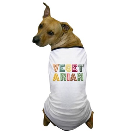 Vegetarian Colorful Distressed Lettering Dog T-Shi