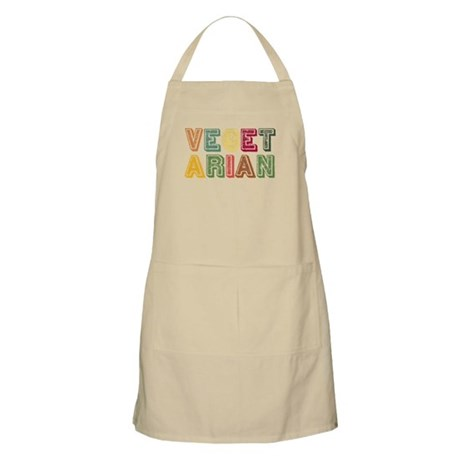 Vegetarian Colorful Distressed Lettering BBQ Apron