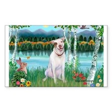 Birches / Pit Bull Terrier Rectangle Decal