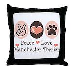 Peace Love Manchester Terrier Throw Pillow