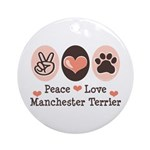 Peace Love Manchester Terrier Ornament (Round)