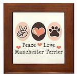 Peace Love Manchester Terrier Framed Tile
