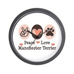 Peace Love Manchester Terrier Wall Clock