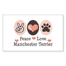 Peace Love Manchester Terrier Sticker (Rectangular