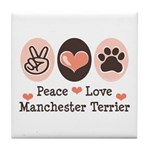 Peace Love Manchester Terrier Tile Coaster