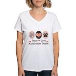 Peace Love Manchester Terrier Women's V-Neck T-Shi