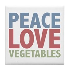Peace Love Vegetables Vegetarian Tile Coaster