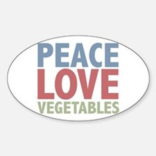 Peace Love Vegetables Vegetarian Oval Decal
