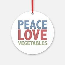 Peace Love Vegetables Vegetarian Ornament (Round)