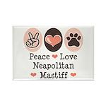 Peace Love Neapolitan Mastiff Rectangle Magnet (10