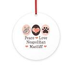 Peace Love Neapolitan Mastiff Ornament (Round)