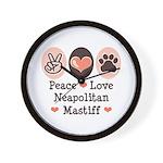 Peace Love Neapolitan Mastiff Wall Clock