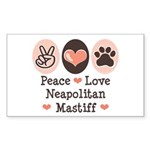 Peace Love Neapolitan Mastiff Sticker (Rectangular