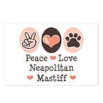Peace Love Neapolitan Mastiff Postcards (Package o
