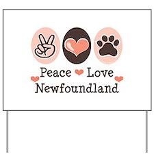 Peace Love Newfoundland Yard Sign