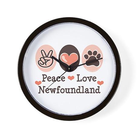 Peace Love Newfoundland Wall Clock