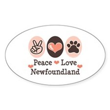Peace Love Newfoundland Oval Decal
